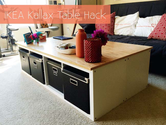 Simple Coffee Table with Underlying Basket Units #IKEAhacks #IKEAfurniture #decorhomeideas