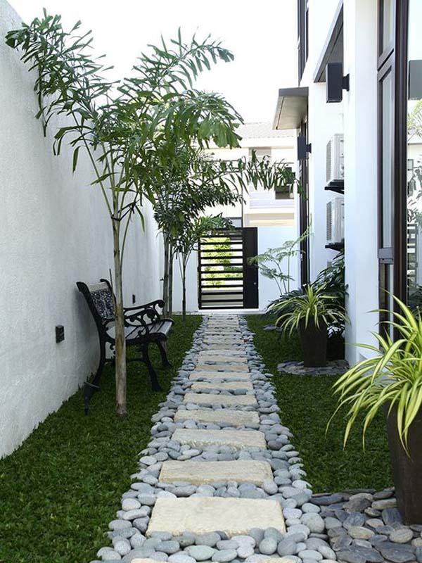 Simple White, Black, and Green Side Yard #sideyard #sidegarden #decorhomeideas