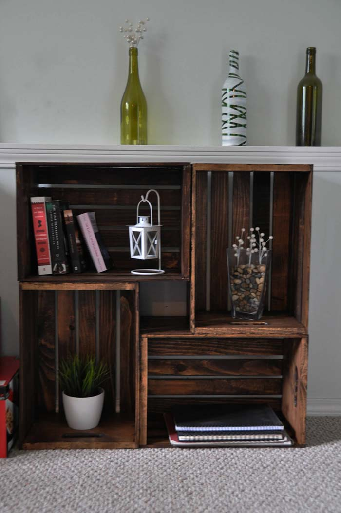 Stunning and Stained Crate Storage Center #diywoodcrateprojects #diywoodcrateideas #decorhomeideas