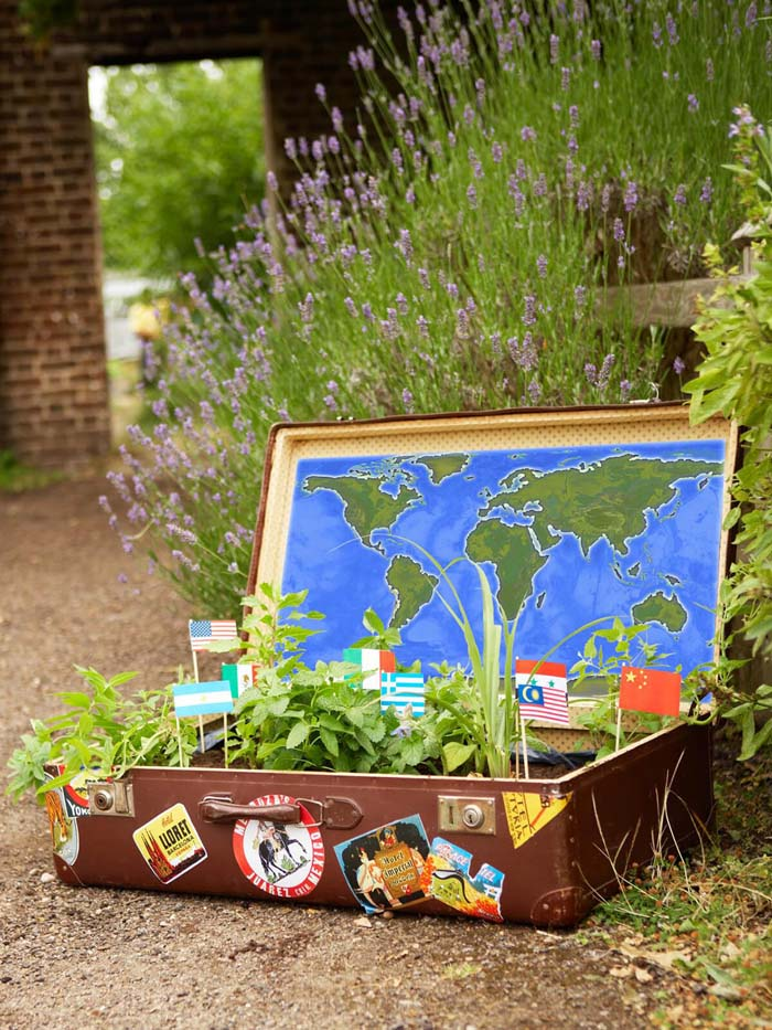 Traveler's Luggage with Flags and Greens #repurposedplanter #repurposedcontainer #decorhomeideas