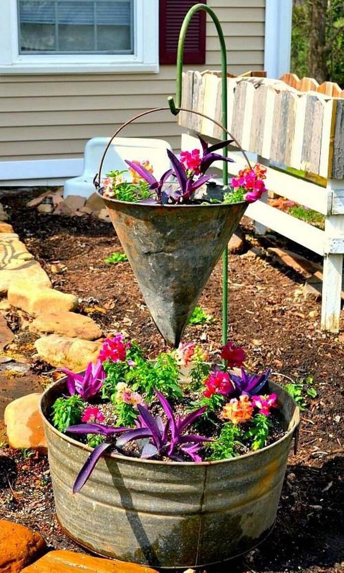Two Level Arrangement with Funnel and Pail #repurposedplanter #repurposedcontainer #decorhomeideas