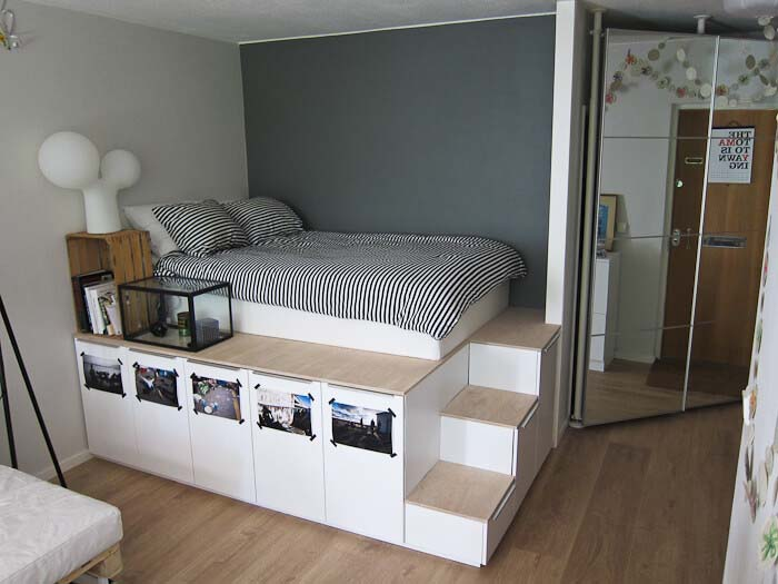 Unique Bed-Stand with Smooth Wood Steps #IKEAhacks #IKEAfurniture #decorhomeideas