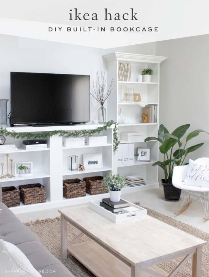 Unobtrusive White Wall Bookcase for Living Room #IKEAhacks #IKEAfurniture #decorhomeideas