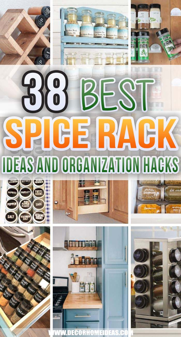 Best Spice Rack Ideas. Try these DIY spice rack ideas for organizing spices in your kitchen. Tame your collection of seasonings with these genius spice organizers that fit drawers, cabinets, and countertops. #decorhomeideas