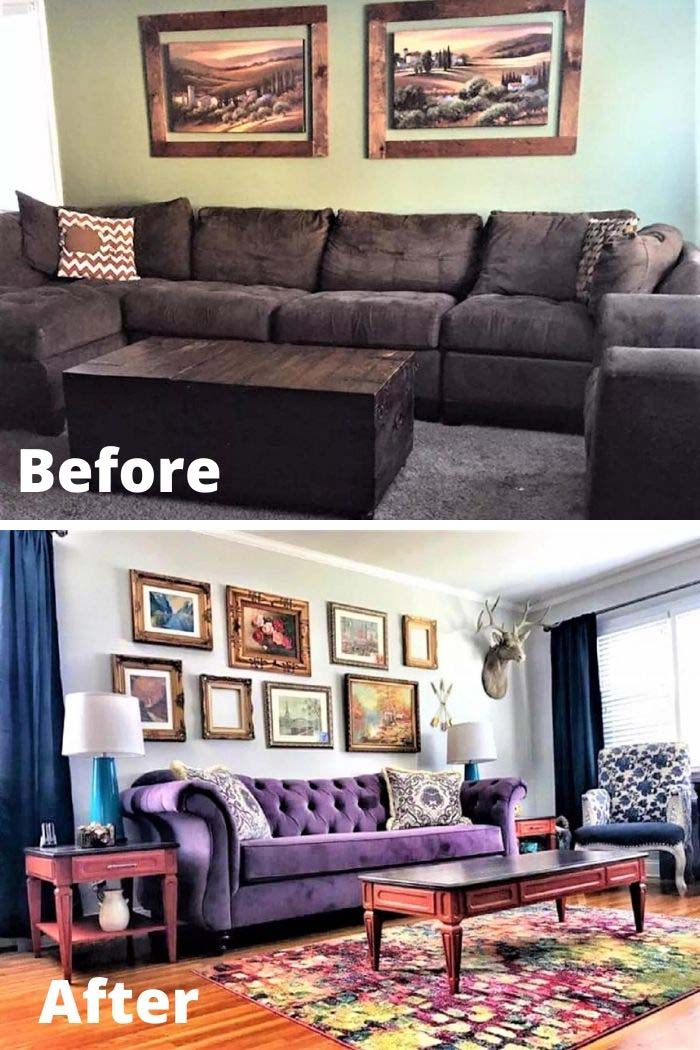 Eclectic and Colorful Living Room Makeover #livingroommakeovers #decorhomeideas