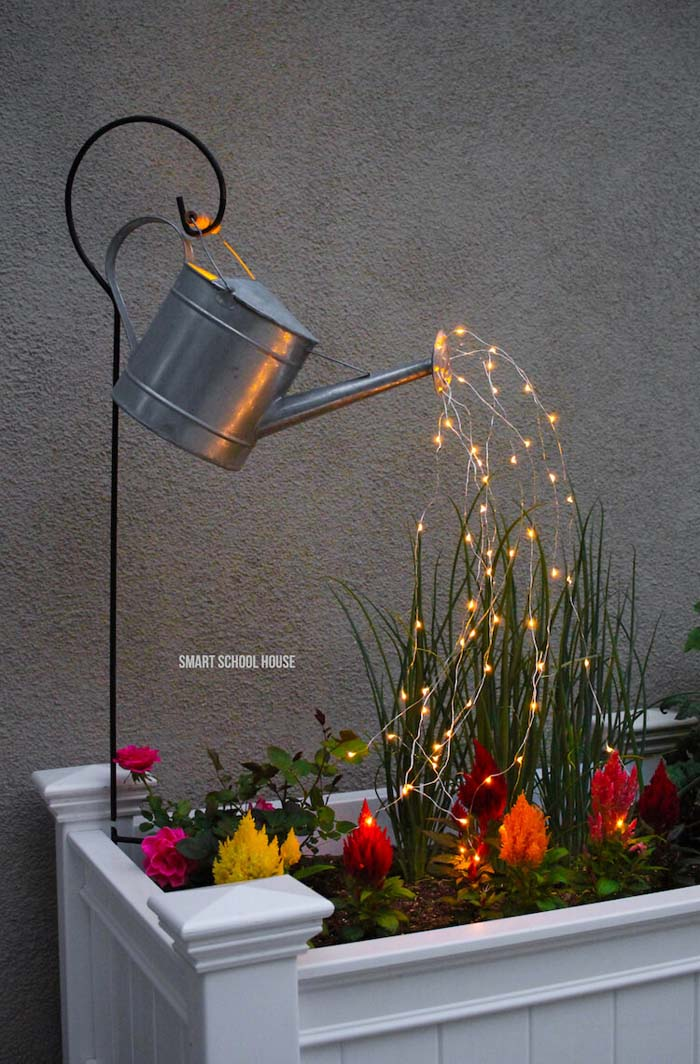 Gorgeous Watering Can Flowing with Lights Decoration #backyardlightingideas #decorhomeideas