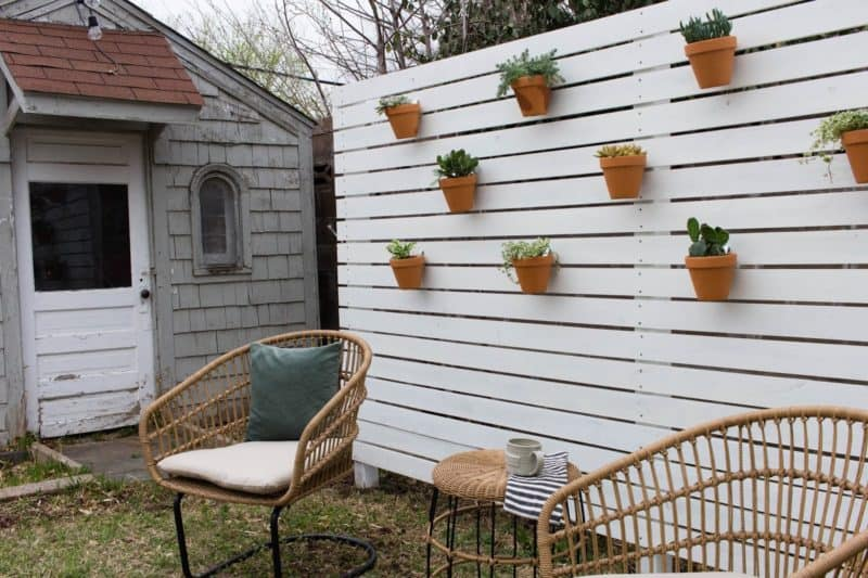 Horizontal Privacy Fence With Planters