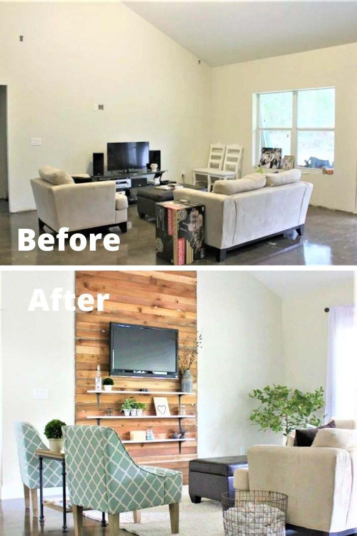 Living Room Makeover With a Faux Fireplace #livingroommakeovers #decorhomeideas