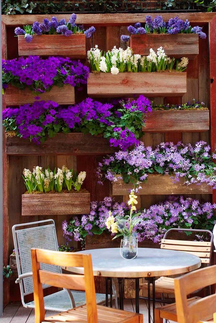 Purple and White Blooms with Wall Boxes #gardenfencedecoration #decorhomeideas