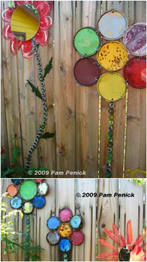 Upcycled Paint Lid Flowers #gardenfencedecoration #decorhomeideas