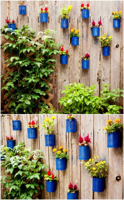 Upcycled Tin Can Planters #gardenfencedecoration #decorhomeideas
