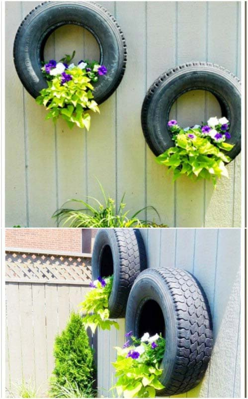 Upcycled Tire Planters #gardenfencedecoration #decorhomeideas
