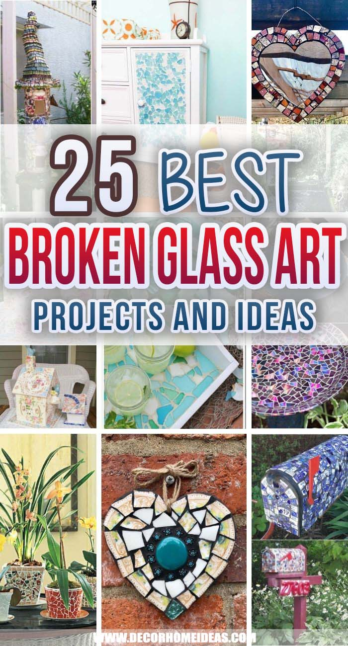 Best Broken Glass Art Ideas. Check out these broken glass art projects and ideas before throwing away all the unused china and glass from your home. There are some spectacular DIY projects you can do in no time. #decorhomeideas