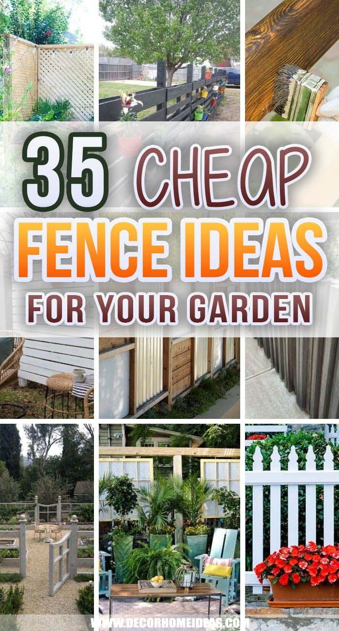 Best Cheap Fence Ideas. Let me show you some cheap fence ideas that will keep wild animals, intruders and noisy neighbors off your garden while improving your yard aesthetic. #decorhomeideas