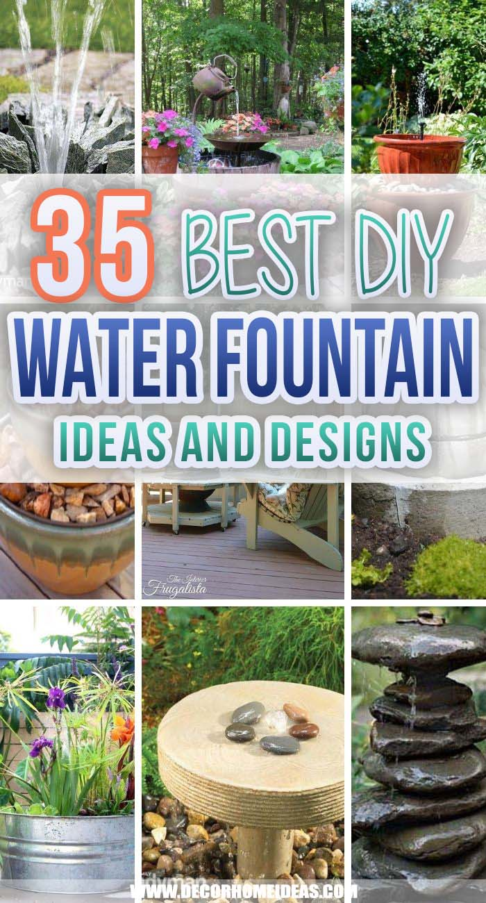Best DIY Water Fountain Ideas. Make your garden even more inviting and appealing with one of these DIY water fountain ideas. They are inexpensive and easy to make. #decorhomeideas