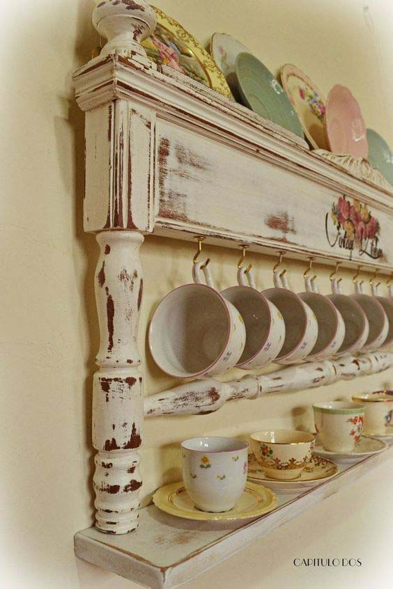 China Display From an Old Bed Frame #vintage #storageideas #decorhomeideas