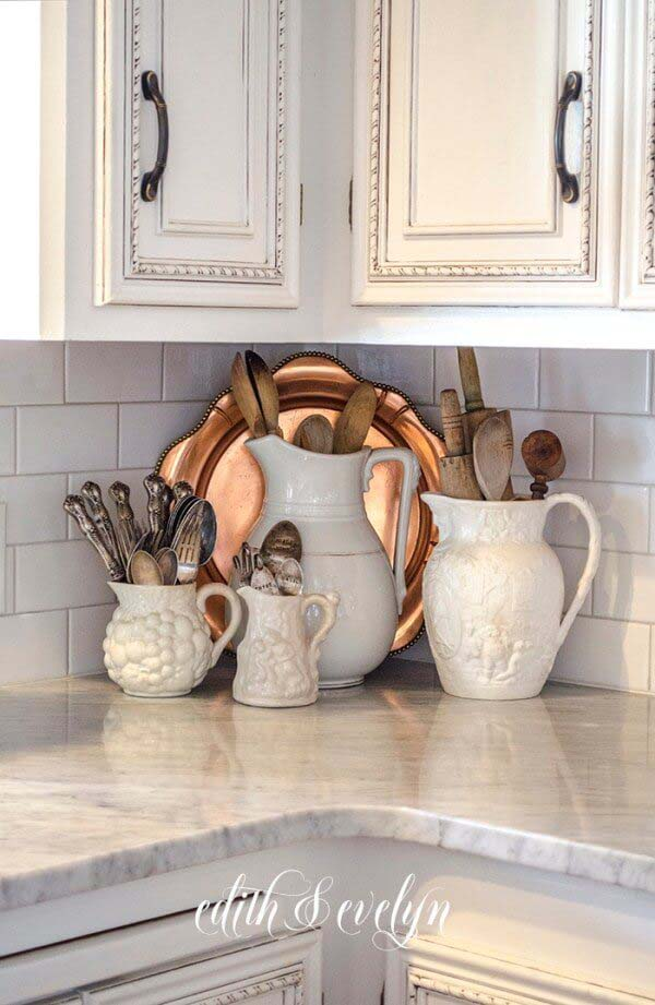 Classic Ironstone Pitchers and Copper Serving Tray #vintage #storageideas #decorhomeideas