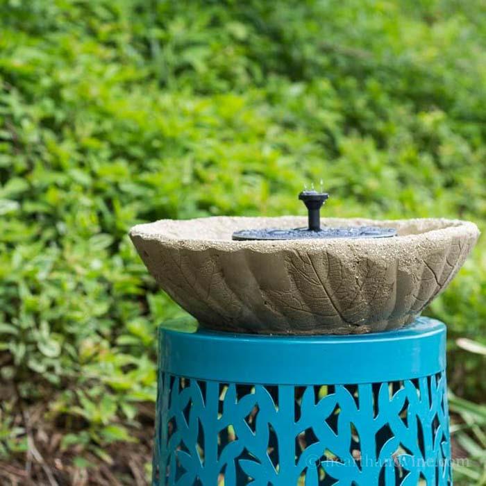 Concrete Fountain or Bird Bath with Leaf Imprints #diycementprojects #decorhomeideas