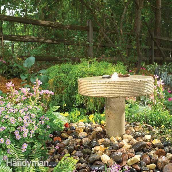 Concrete Garden Fountain Perfect for a Patio #diycementprojects #decorhomeideas