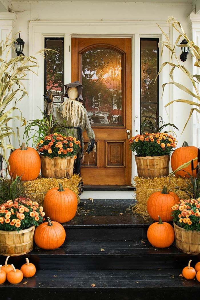 Country Porch Display With Scarecrow