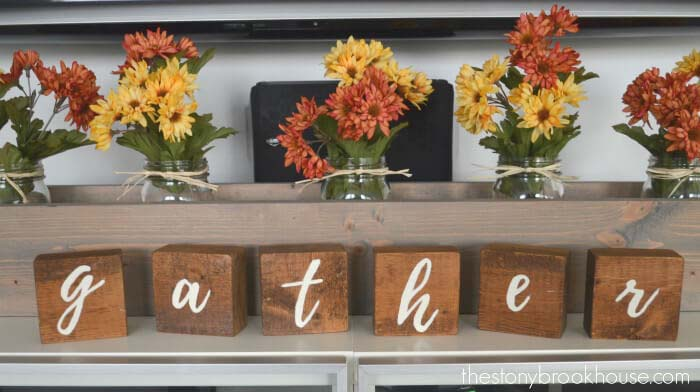 Hand-painted Wooden Letters to Spell Out Gather #fallfarmhousedecor #decorhomeideas