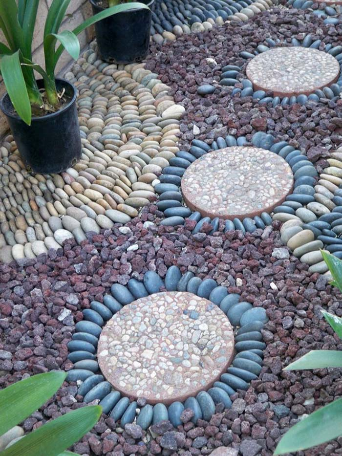Paving with Gravel, Lava Stones And River Rocks #riverrocklandscaping #decorhomeideas