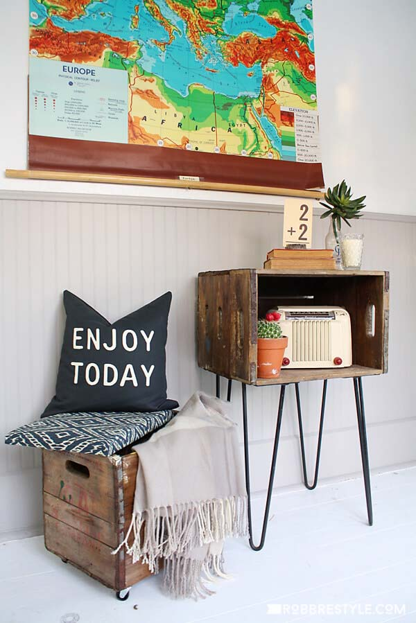 Side Table and Upholstered Stool Boxes #vintage #storageideas #decorhomeideas