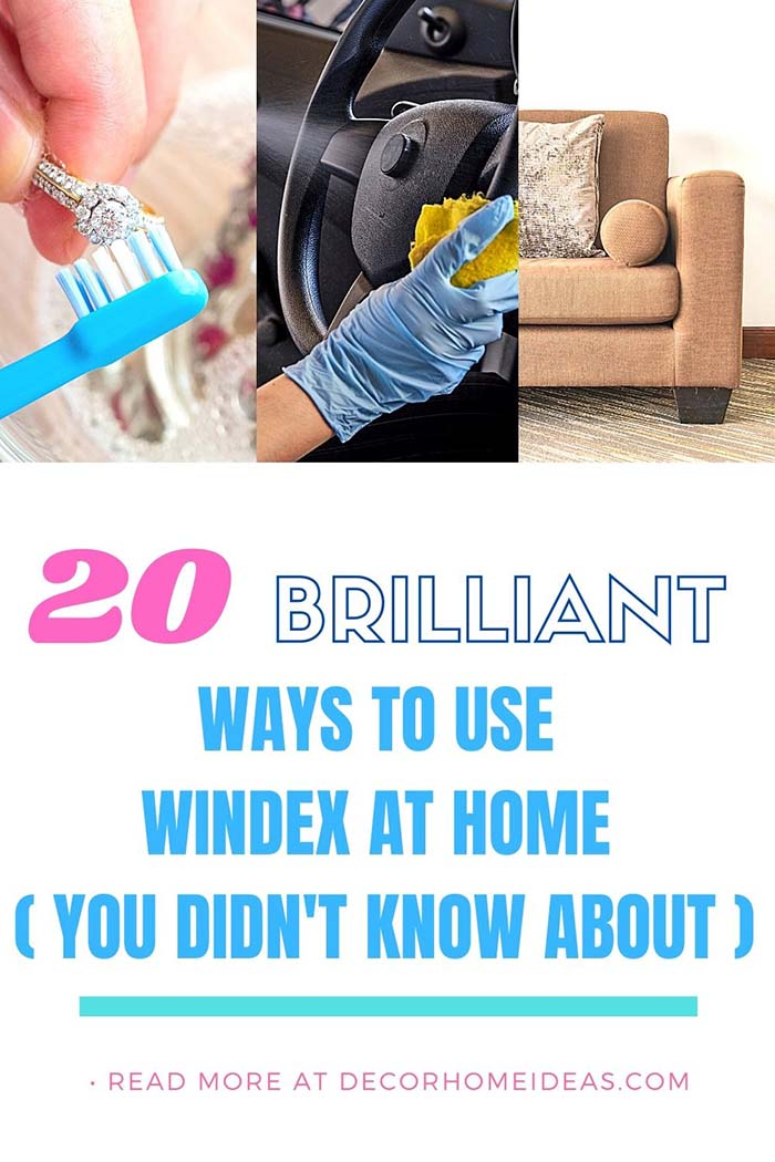 Ways To Use Windex At Home. You already know Windex is great for cleaning windows, now learn the 20 other ways you can use the blue spray cleaner around the house.  #decorhomeideas