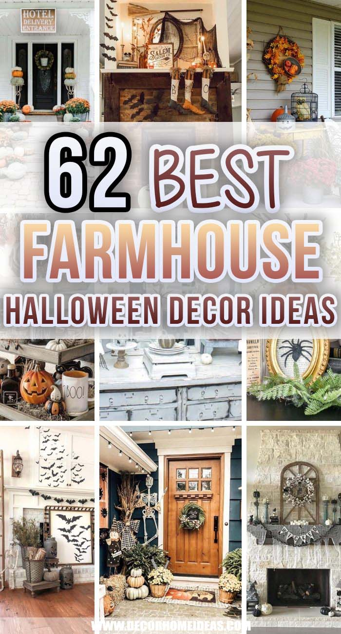Best Farmhouse Halloween Decor Ideas. Get ready for Halloween with these super creative farmhouse-inspired Halloween decorations - front porches, mantels and wall decors. #decorhomeideas
