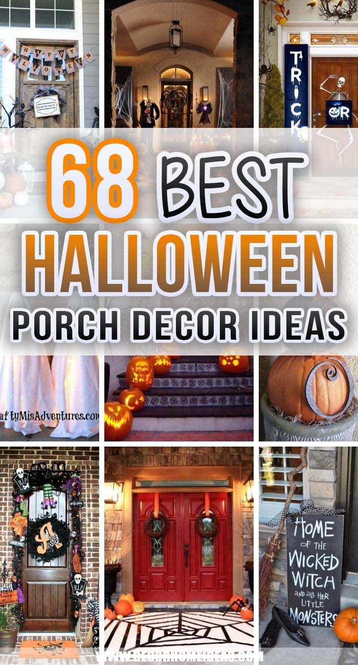 Best Halloween Porch Decor Ideas. Decorate your front porch for Halloween with these super creative  Halloween porch decor ideas, that include ghosts, spiders, crows, skeletons, witches & pumpkins. #decorhomeideas