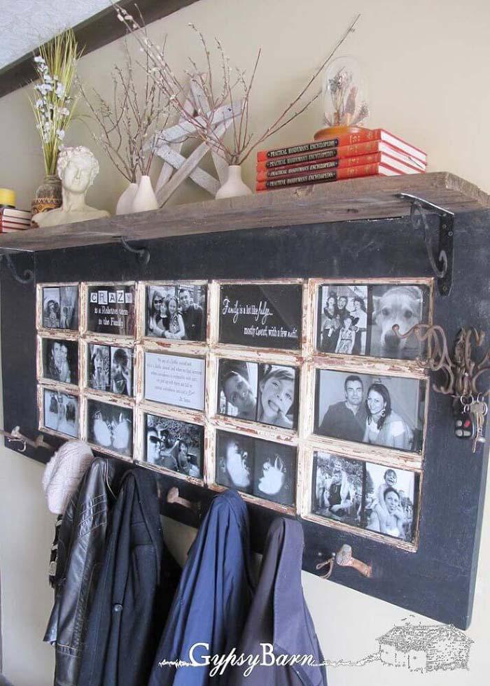 China Cabinet Photo Frame and Coat Rack #repurpose #olddoors #decorhomeideas