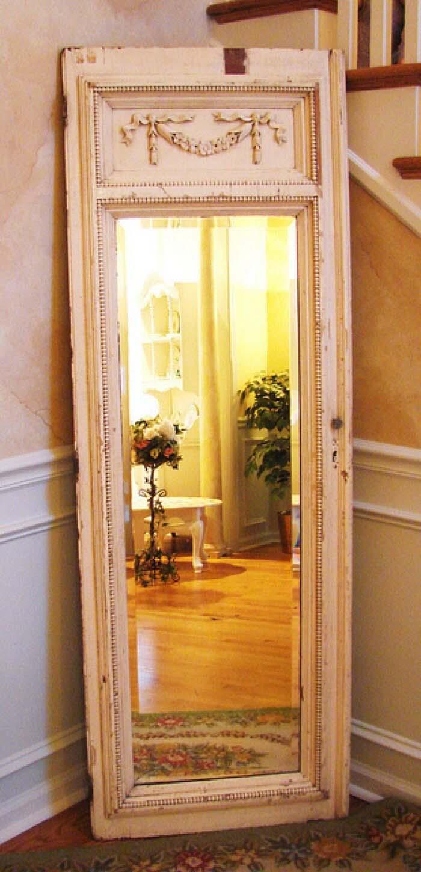 Classical Panel Framed Full-Length Mirror #repurpose #olddoors #decorhomeideas