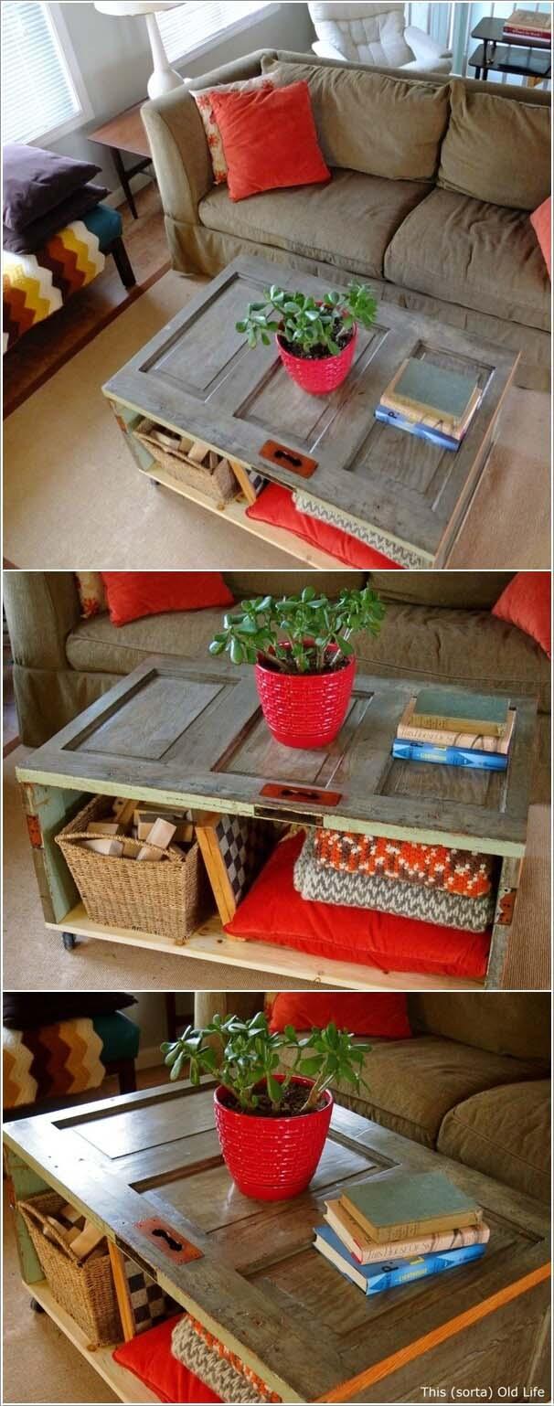 Crawl Space Entry Turned Storage Coffee Table #repurpose #olddoors #decorhomeideas