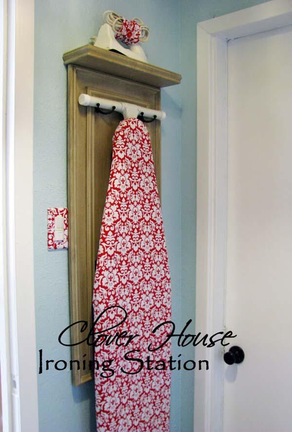 Door Repurposed for Ironing Station #repurpose #olddoors #decorhomeideas