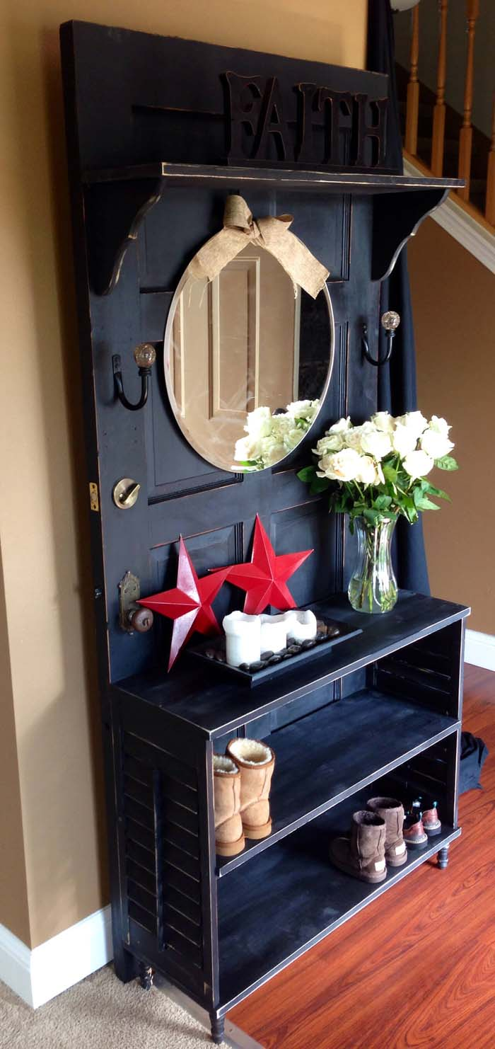 Door Repurposed into Entryway Essentials Organizer #repurpose #olddoors #decorhomeideas