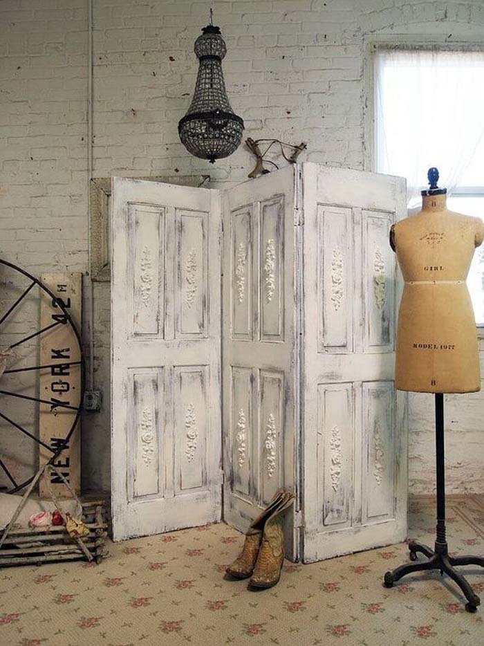 Dressing Screen Fashioned from Three Old Doors #repurpose #olddoors #decorhomeideas