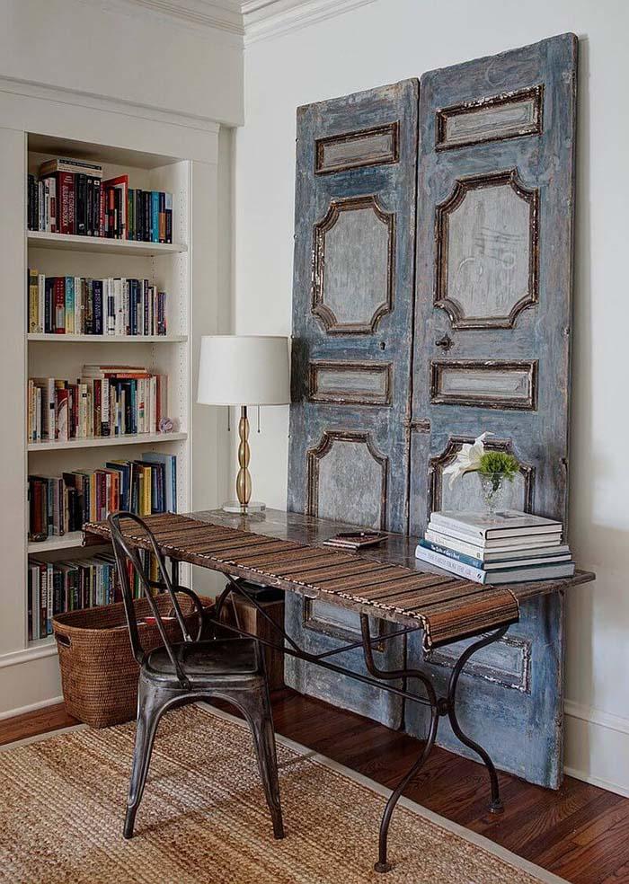 Dusky Blue French Panel Desk Backdrop #repurpose #olddoors #decorhomeideas