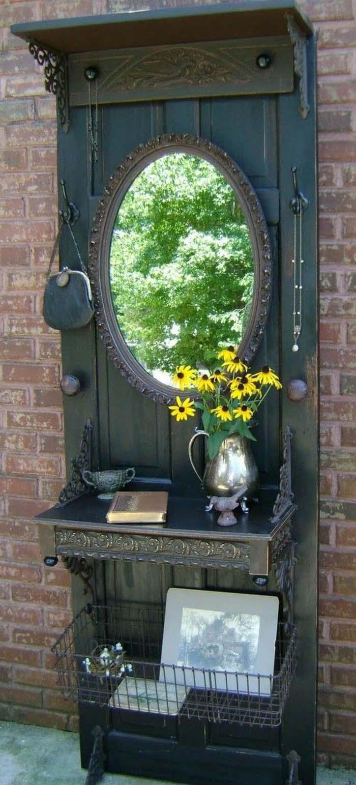 Gothic Door Turned Vanity and Letter Desk #repurpose #olddoors #decorhomeideas