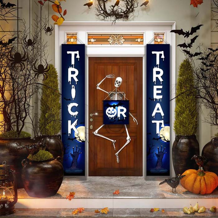 20. Halloween Party Banner that Says Trick or Treat #frontporch #halloween #decorhomeideas