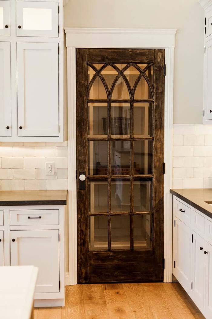 Intertwined Gothic Lattice Glass Pantry Door #repurpose #olddoors #decorhomeideas