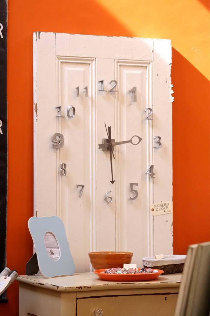 Narrow Pantry Door Study Desk Timepiece #repurpose #olddoors #decorhomeideas