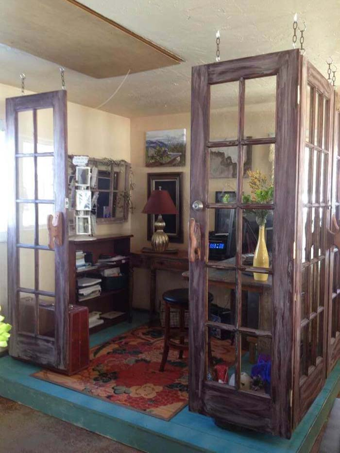 Office Delineated by Hanging French Door Panels #repurpose #olddoors #decorhomeideas