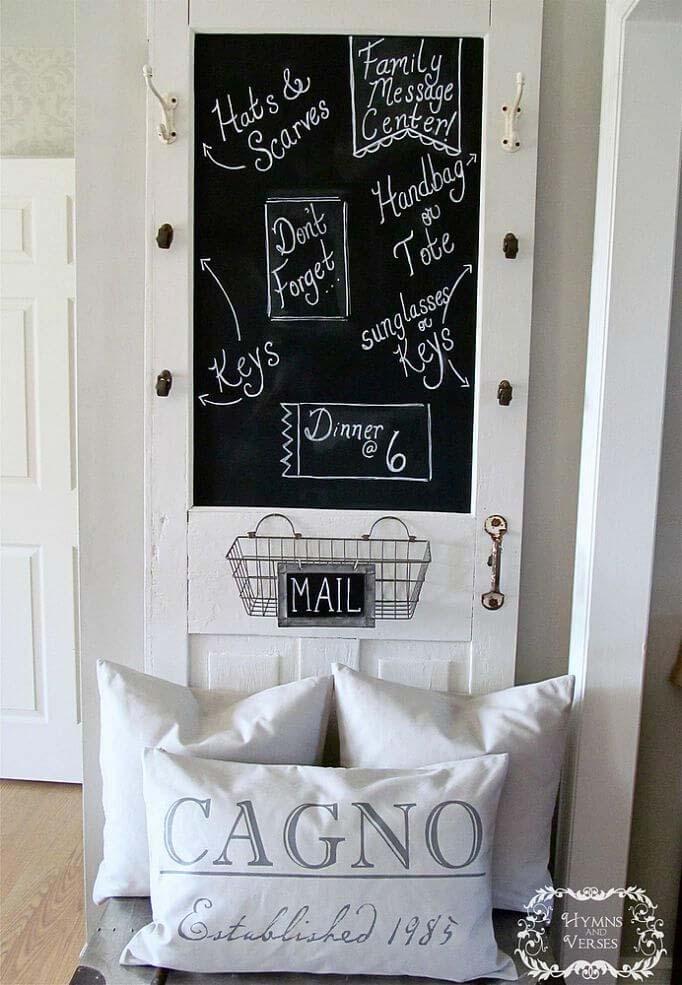Old-Fashioned Classroom Door Message Center #repurpose #olddoors #decorhomeideas