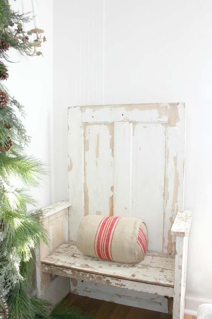 Reclaimed Wooden Door Weathered Bench #repurpose #olddoors #decorhomeideas