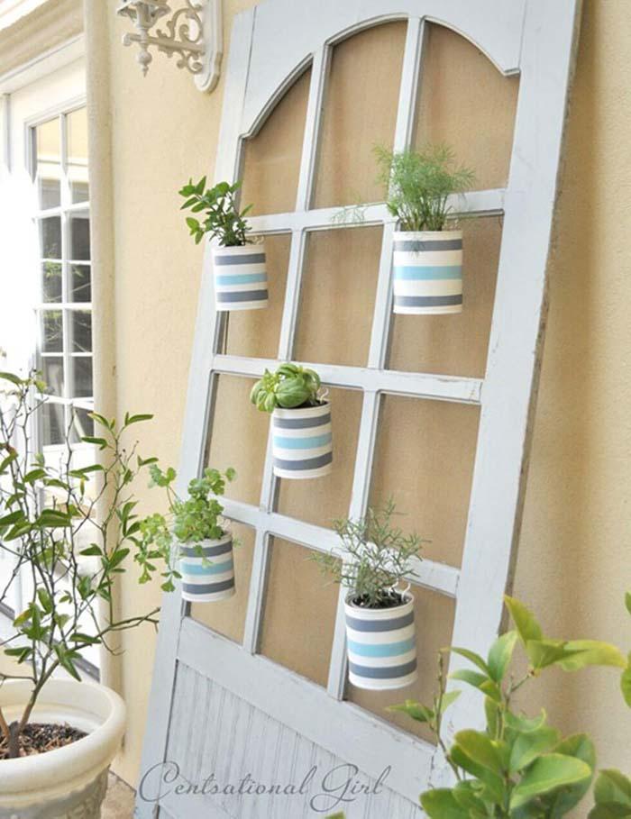 Repurposed Hutch Door Living Wall #repurpose #olddoors #decorhomeideas