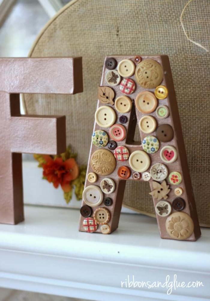 36. Shabby Chic Buttons on Mantelpiece Letters #rusticfall #decorhomeideas