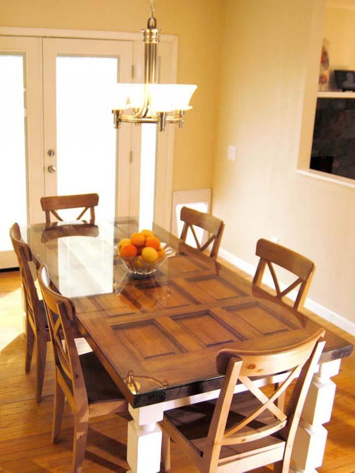 Twelve Panel Door Tempered Glass Dining Table #repurpose #olddoors #decorhomeideas