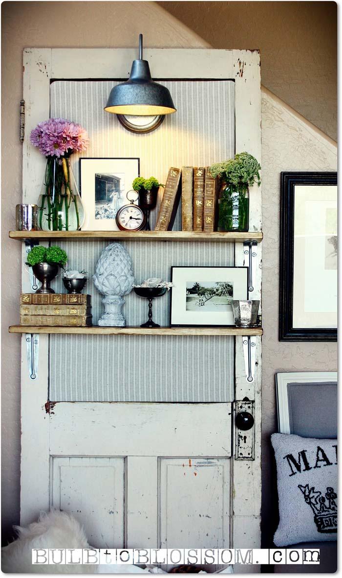 Vintage Door Lighted Display Shelf #repurpose #olddoors #decorhomeideas