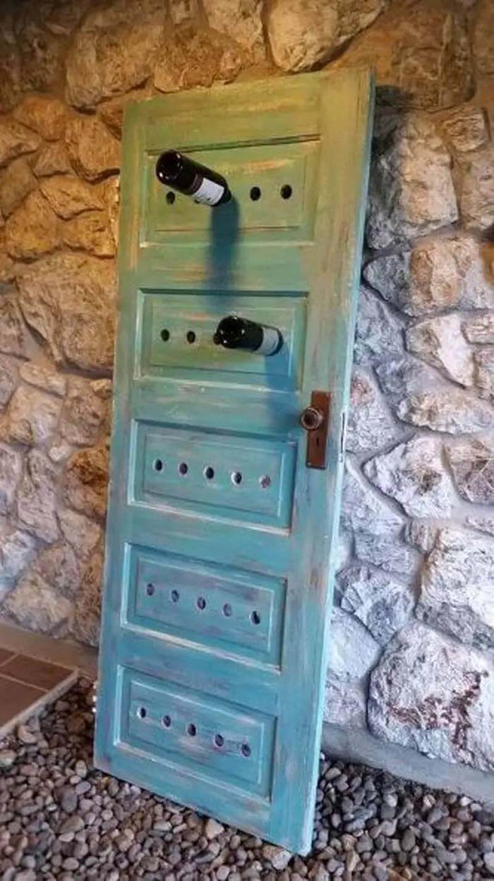 Wine Rack from Repurposed Door #repurpose #olddoors #decorhomeideas