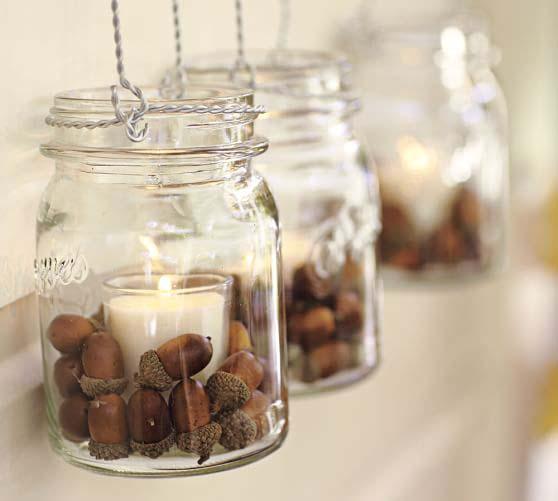 1. Acorn Mason Jar Candleholder #dollarstore #falldecor #diy #decorhomeideas
